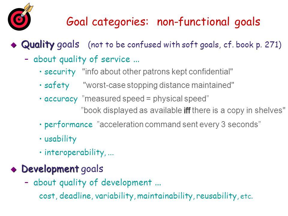 Goal categories: non-functional goals