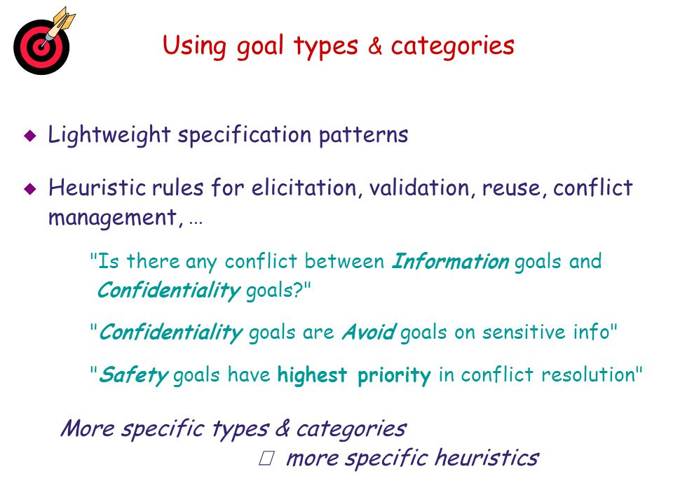 Using goal types & categories
