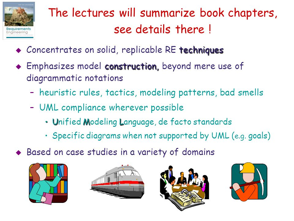 The lectures will summarize book chapters, see details there !