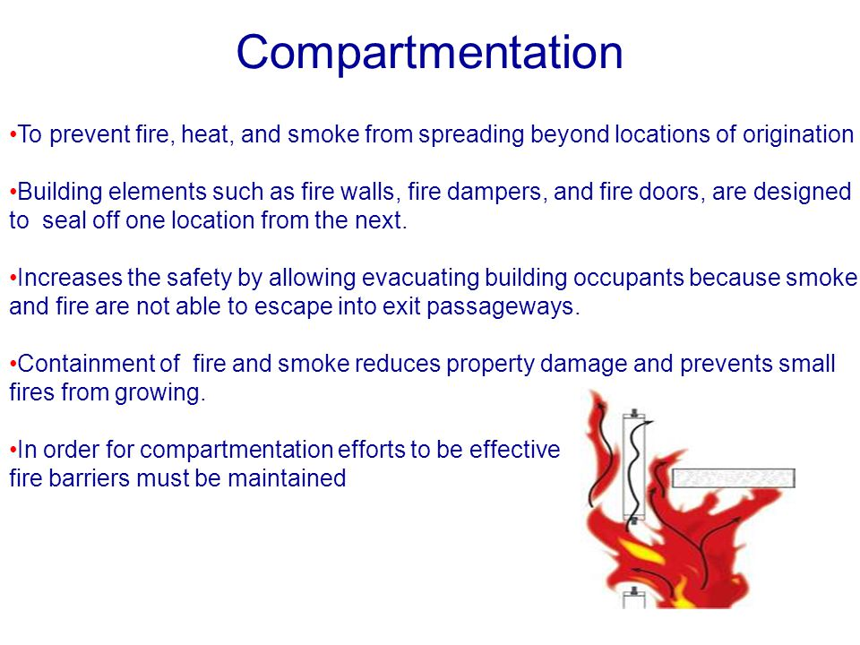 Compartmentation To prevent fire, heat, and smoke from spreading beyond locations of origination.