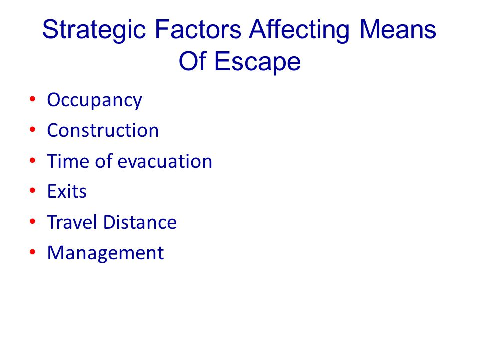 Strategic Factors Affecting Means Of Escape