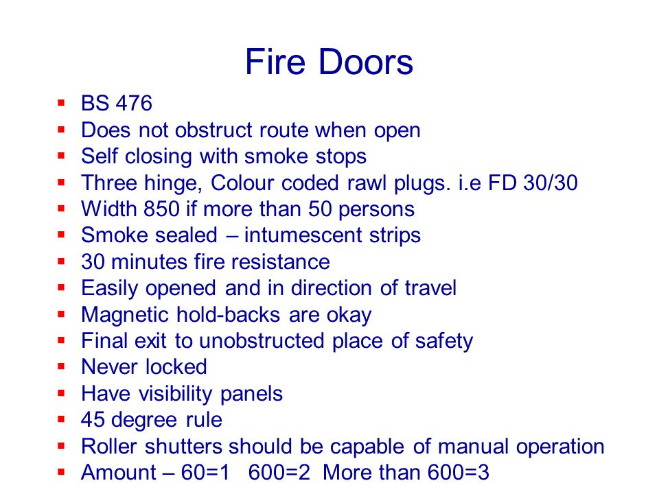 Fire Doors BS 476 Does not obstruct route when open