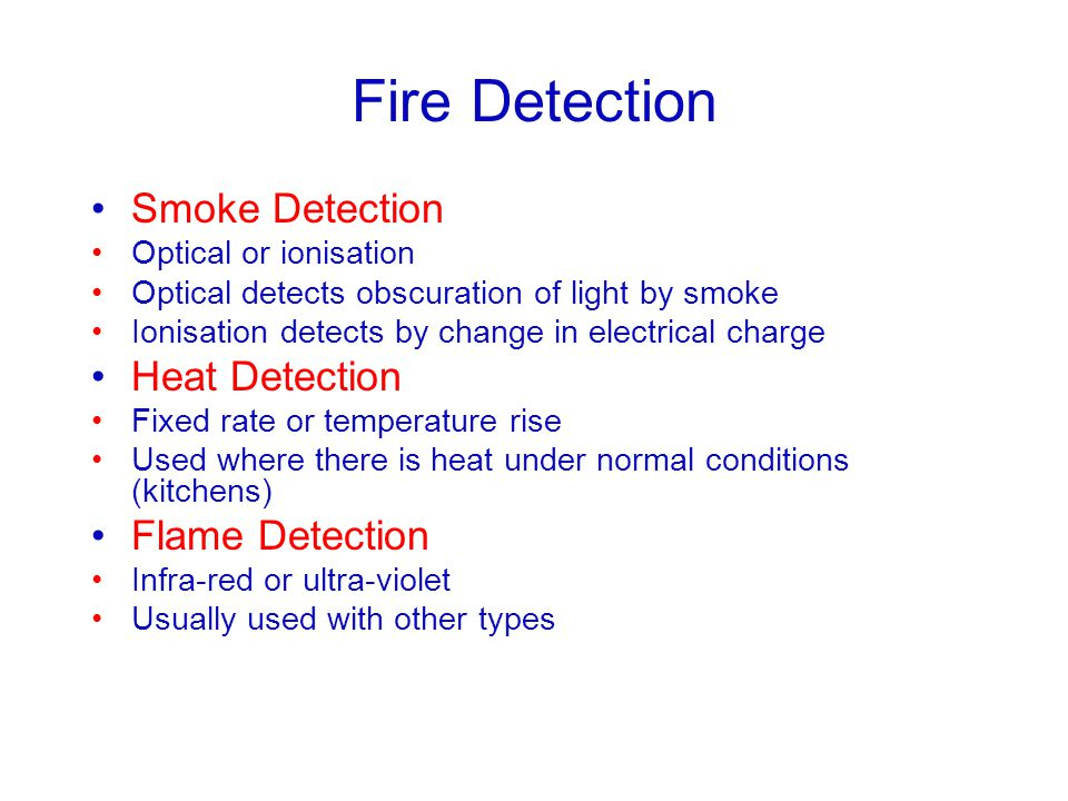 Fire Detection Smoke Detection Heat Detection Flame Detection