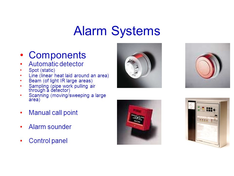 Alarm Systems Components Automatic detector Manual call point