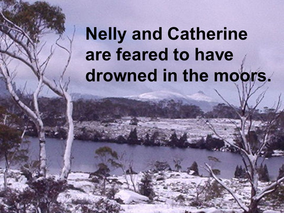 Nelly and Catherine are feared to have drowned in the moors.
