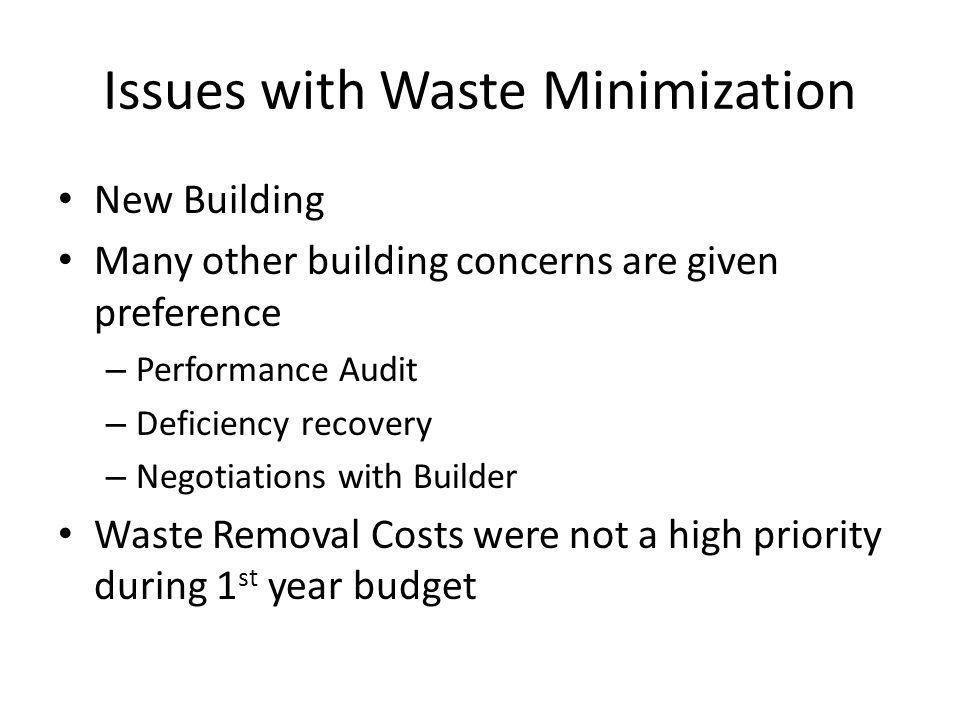 Issues with Waste Minimization