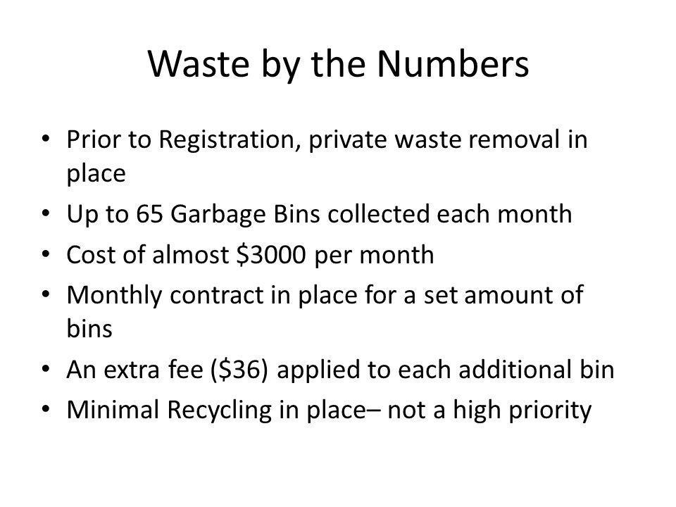 Waste by the Numbers Prior to Registration, private waste removal in place. Up to 65 Garbage Bins collected each month.