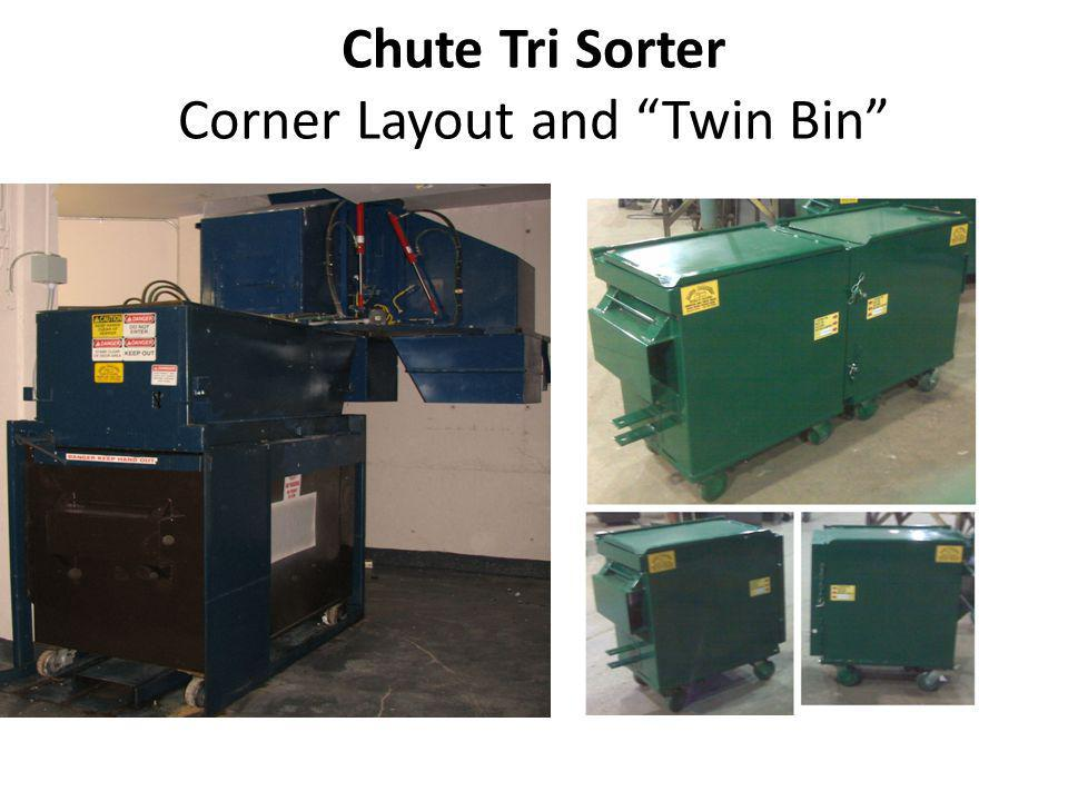 Chute Tri Sorter Corner Layout and Twin Bin