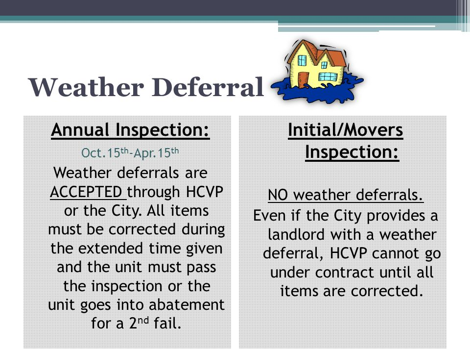 Initial/Movers Inspection: