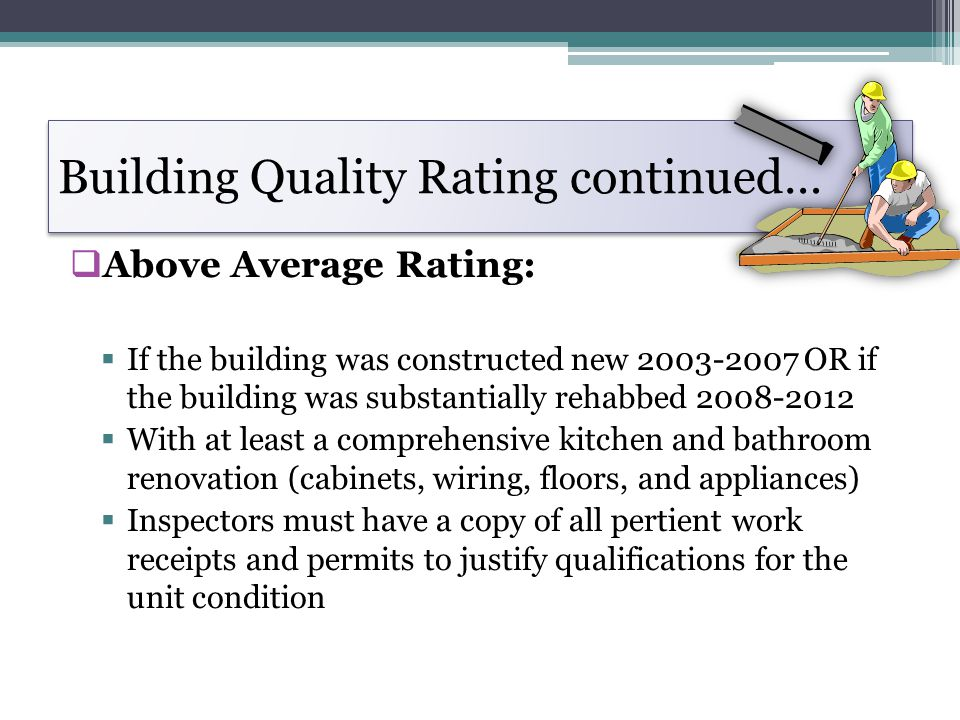 Building Quality Rating continued…