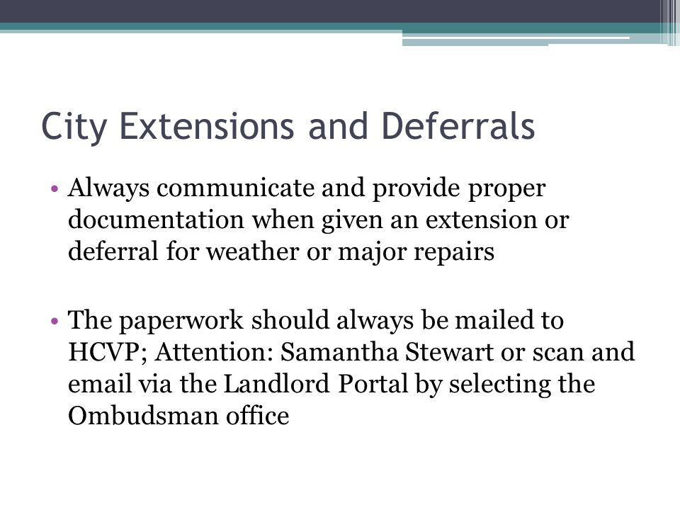 City Extensions and Deferrals