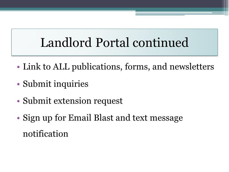 Landlord Portal continued