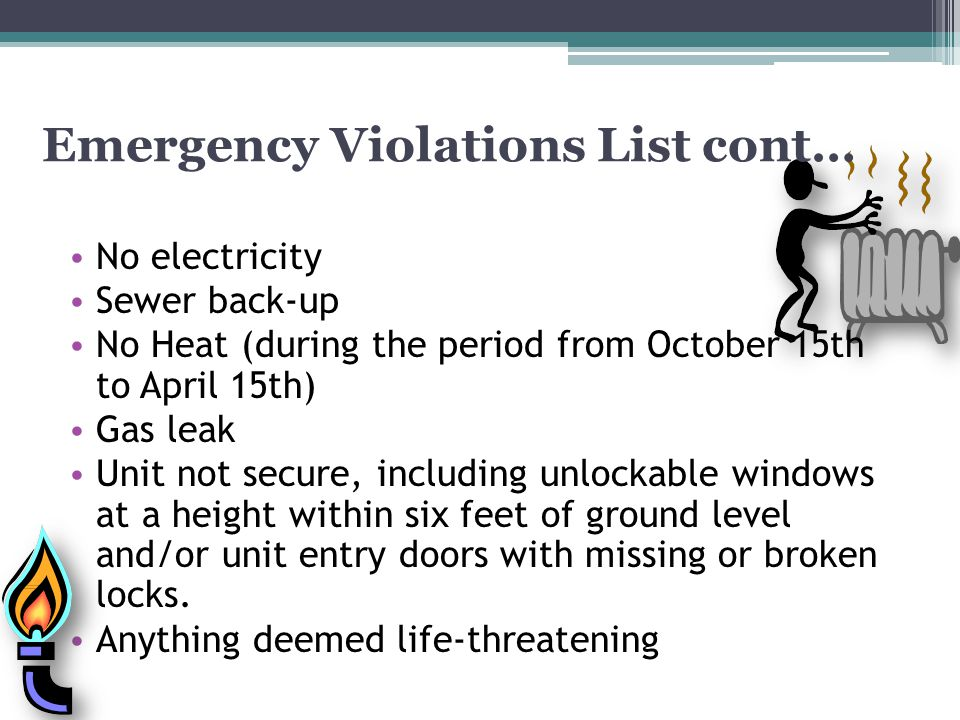 Emergency Violations List cont…