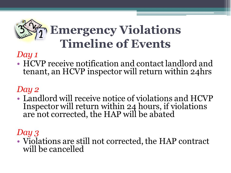 Emergency Violations Timeline of Events
