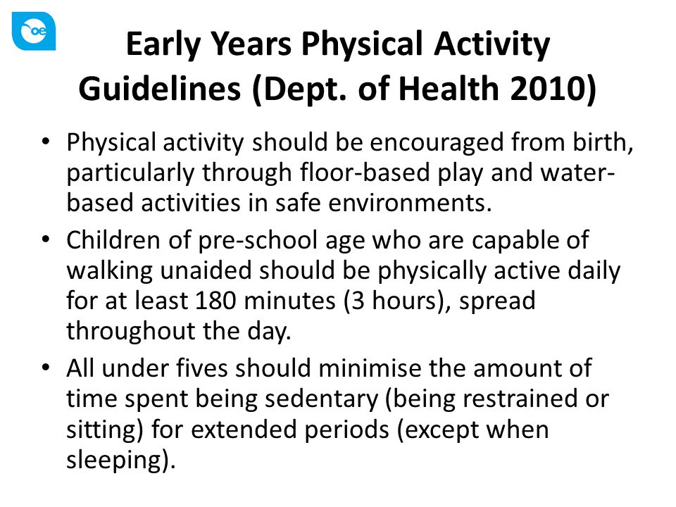 Early Years Physical Activity Guidelines (Dept. of Health 2010)