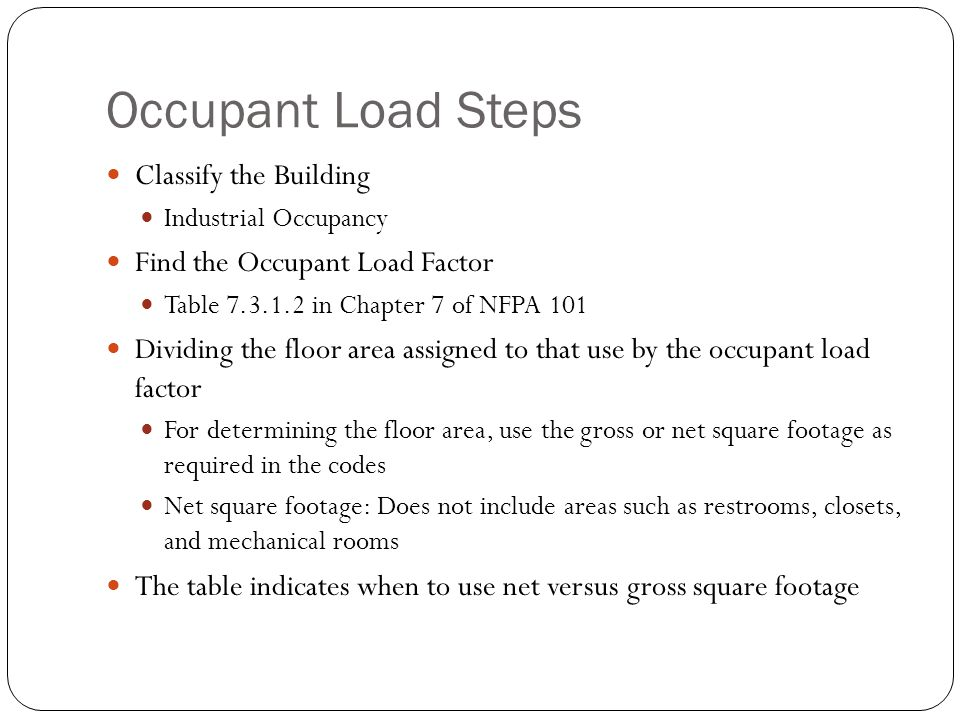 Occupant Load Steps Classify the Building