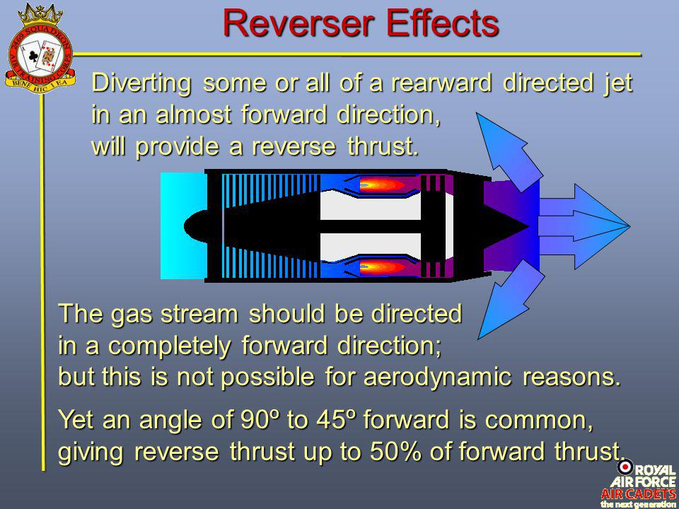 Reverser Effects Diverting some or all of a rearward directed jet