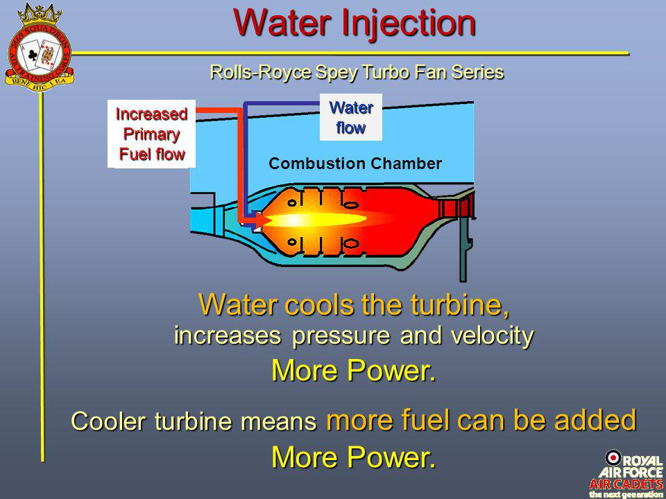 Water Injection Water cools the turbine, More Power. More Power.
