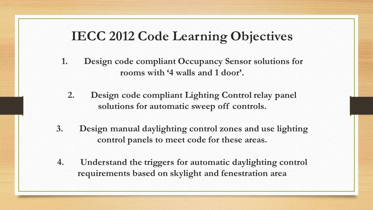 IECC 2012 Code Learning Objectives