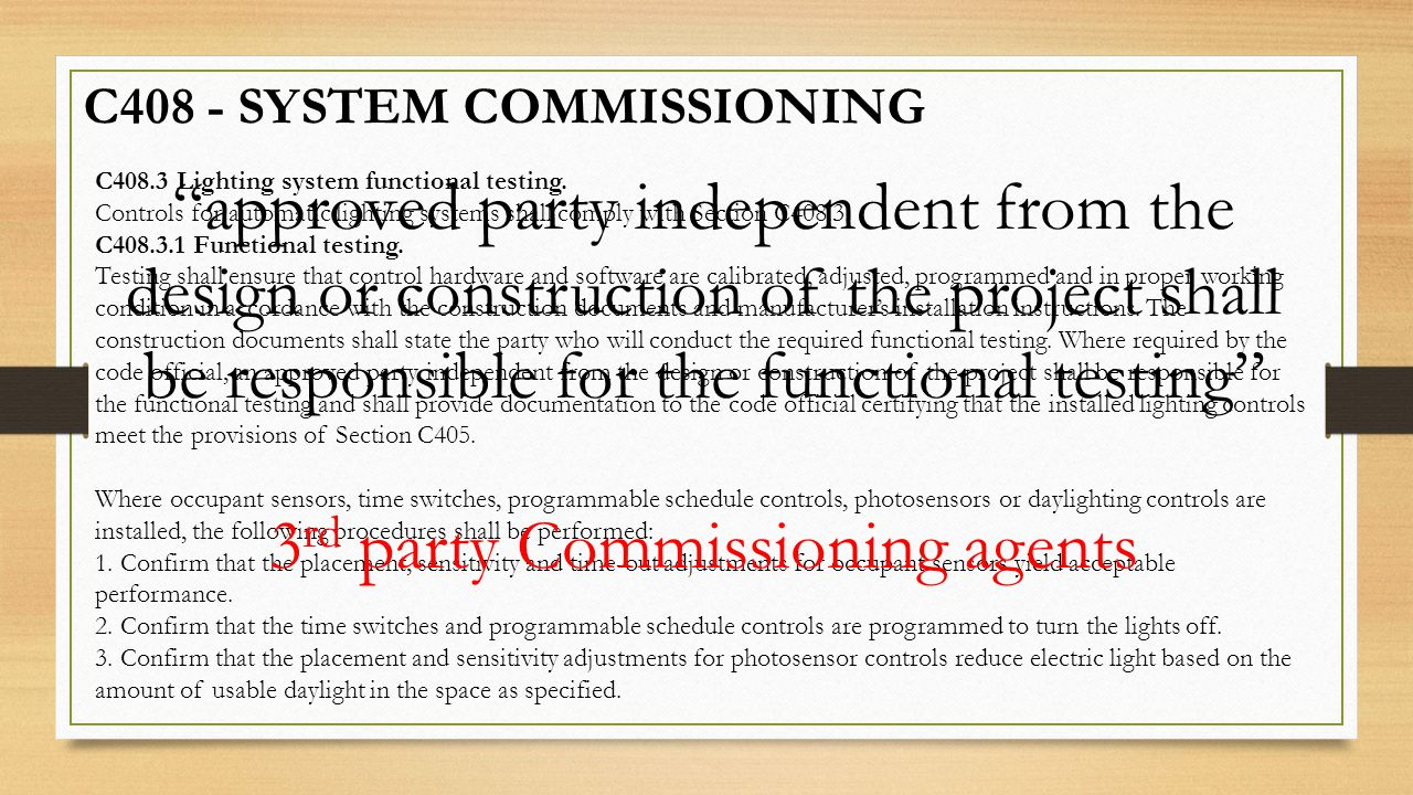3rd party Commissioning agents