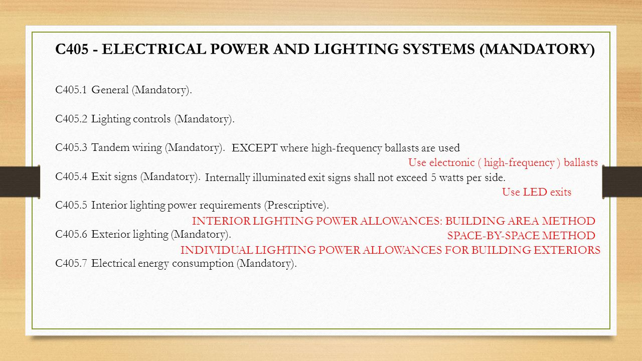 C405 - ELECTRICAL POWER AND LIGHTING SYSTEMS (MANDATORY)