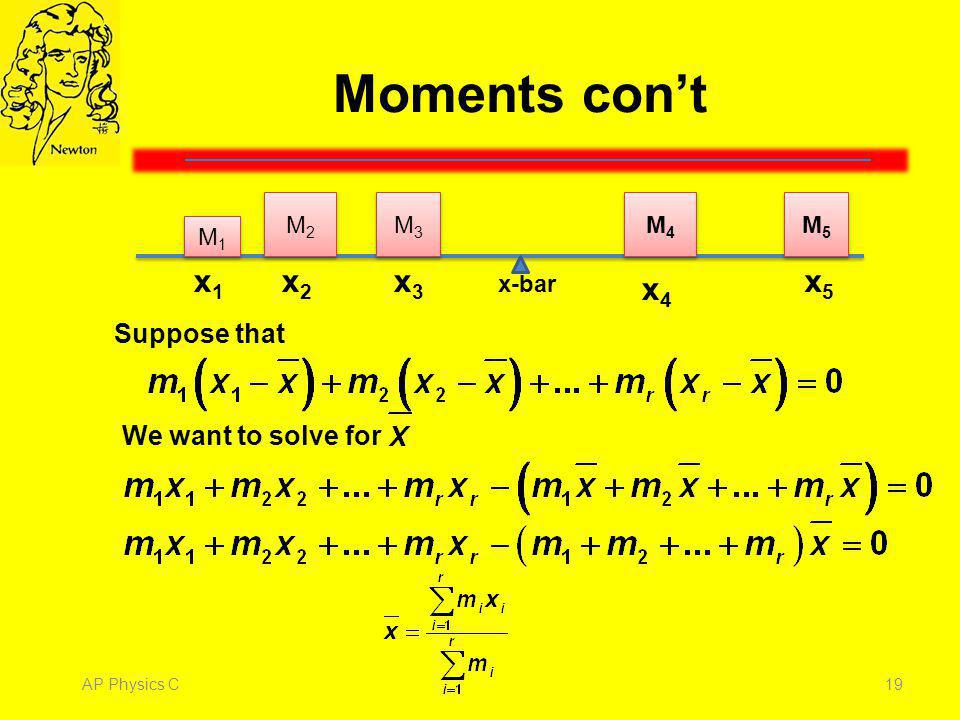 Moments con't x1 x4 x2 x3 x5 Suppose that We want to solve for M1 M4