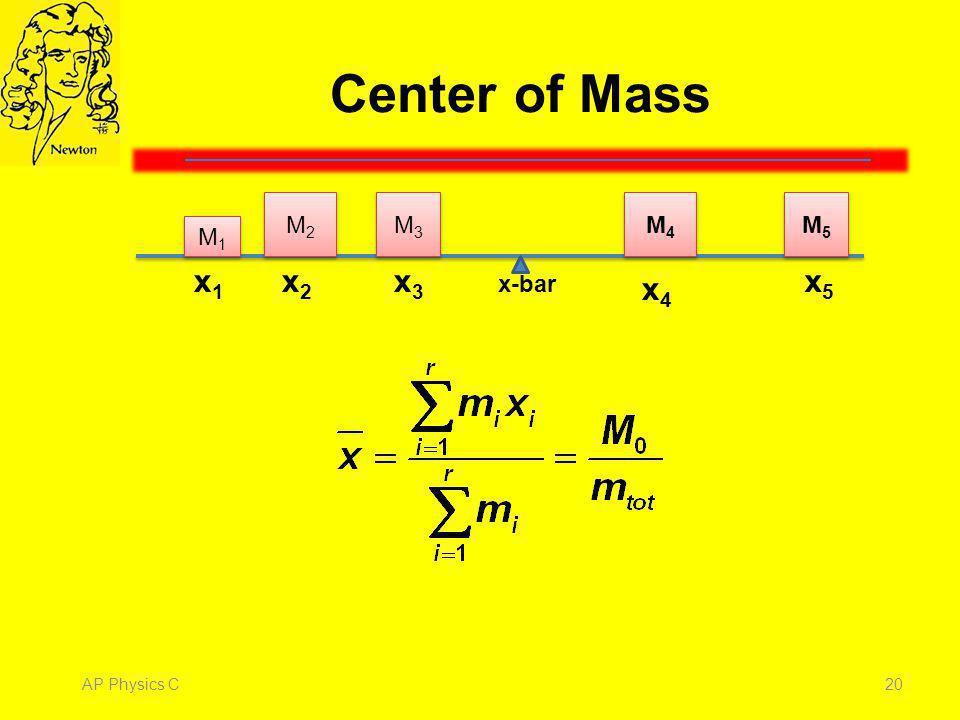Center of Mass M1 M4 x1 x4 M2 M3 x2 x3 M5 x5 x-bar AP Physics C