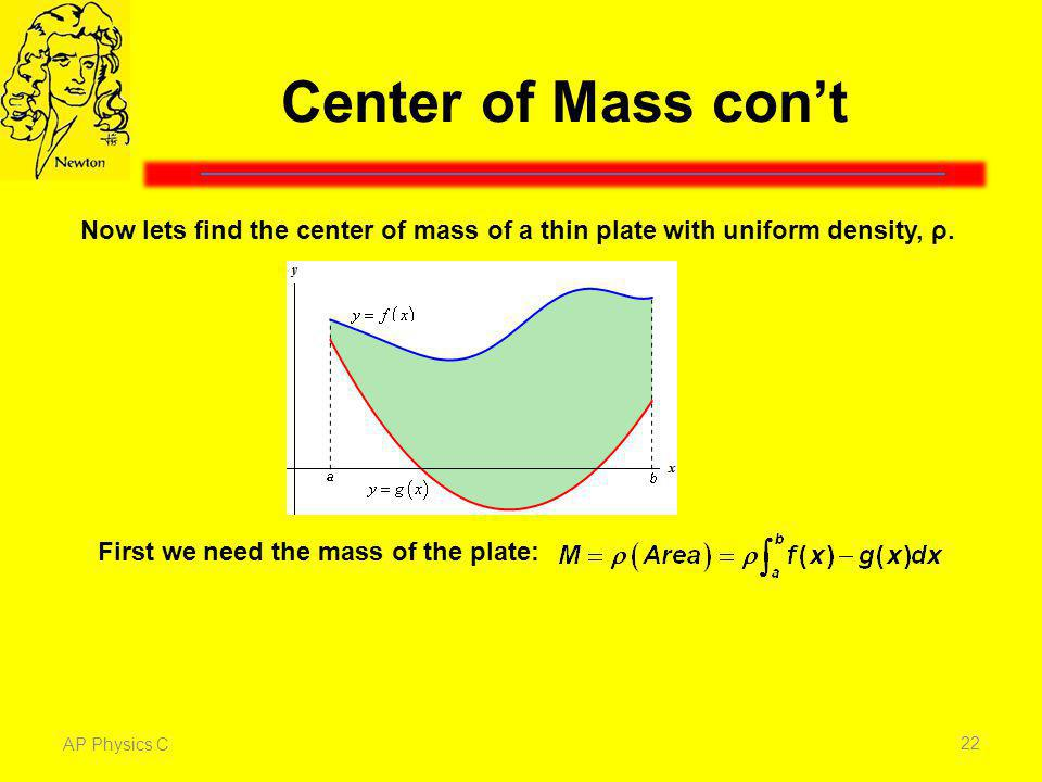 Center of Mass con't Now lets find the center of mass of a thin plate with uniform density, ρ. First we need the mass of the plate: