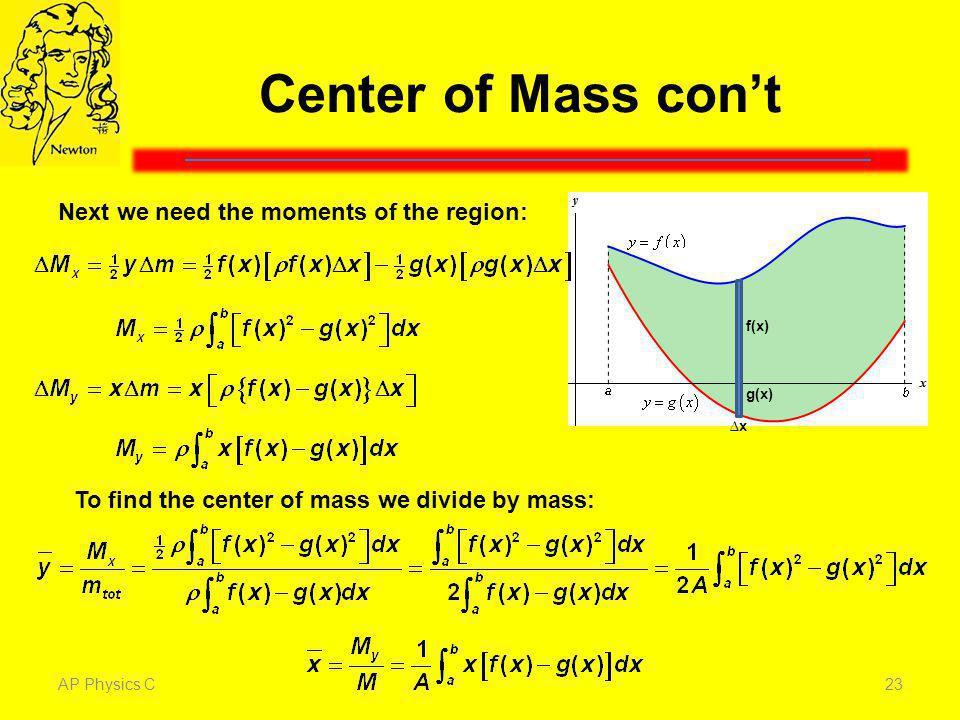 Center of Mass con't Next we need the moments of the region: