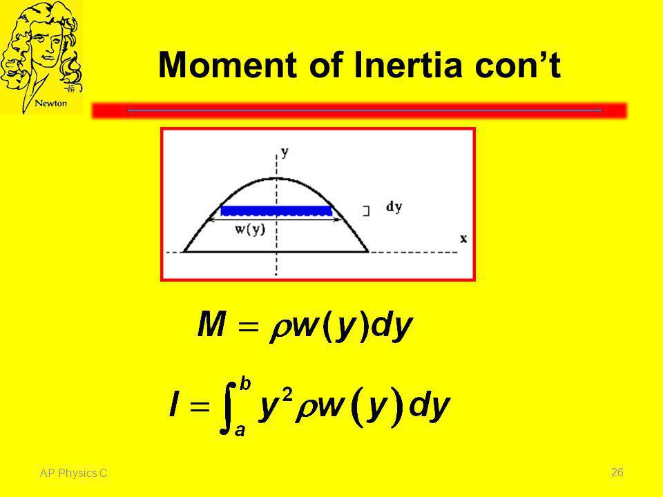 Moment of Inertia con't