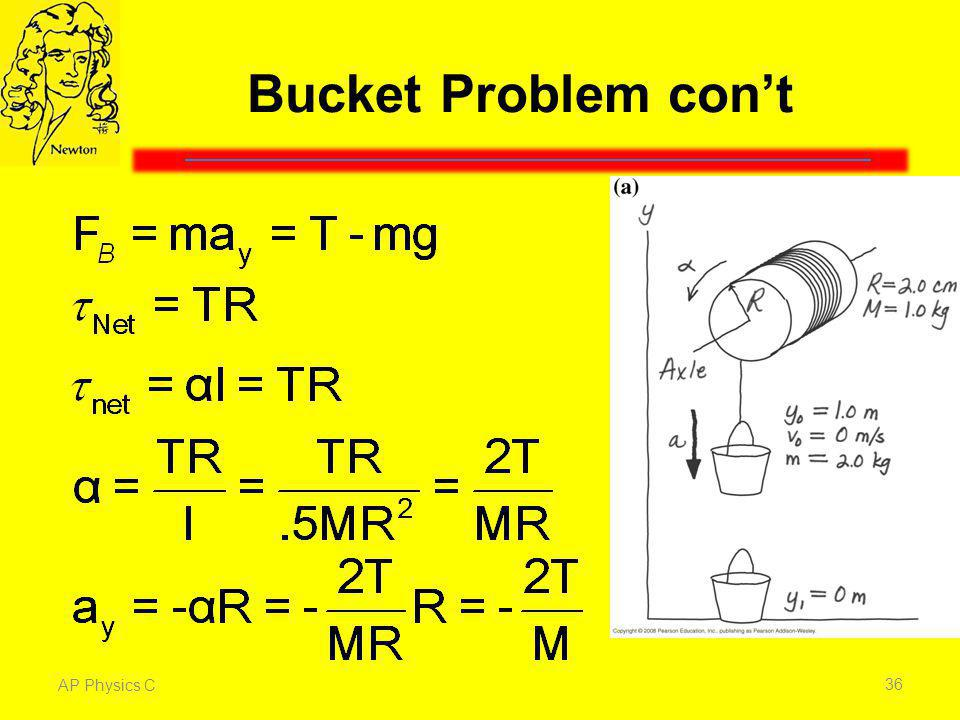 Bucket Problem con't The net force on the bucket is the upward tension of the rope minus the downward force of gravity.