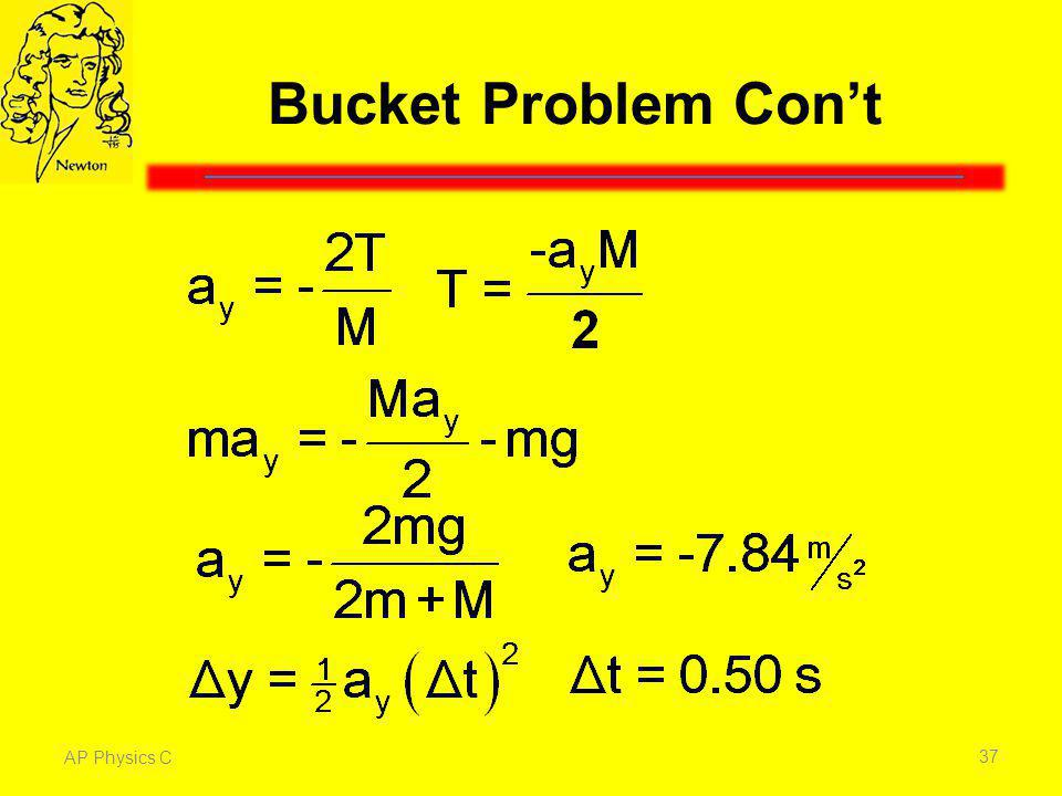 Bucket Problem Con't Given that the acceleration of the bucket is negative 2T/M, we can solve for the tension on the rope, T.