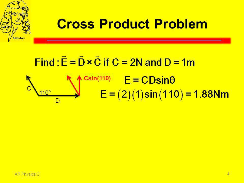Cross Product Problem Csin(110) C 110° D The magnitude of E is Cdsinθ.