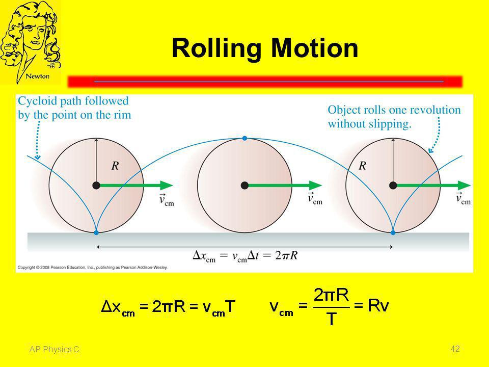 Rolling Motion Rolling motion is a combination of translation and rotation.