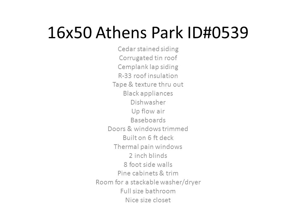 16x50 Athens Park ID#0539 Cedar stained siding Corrugated tin roof
