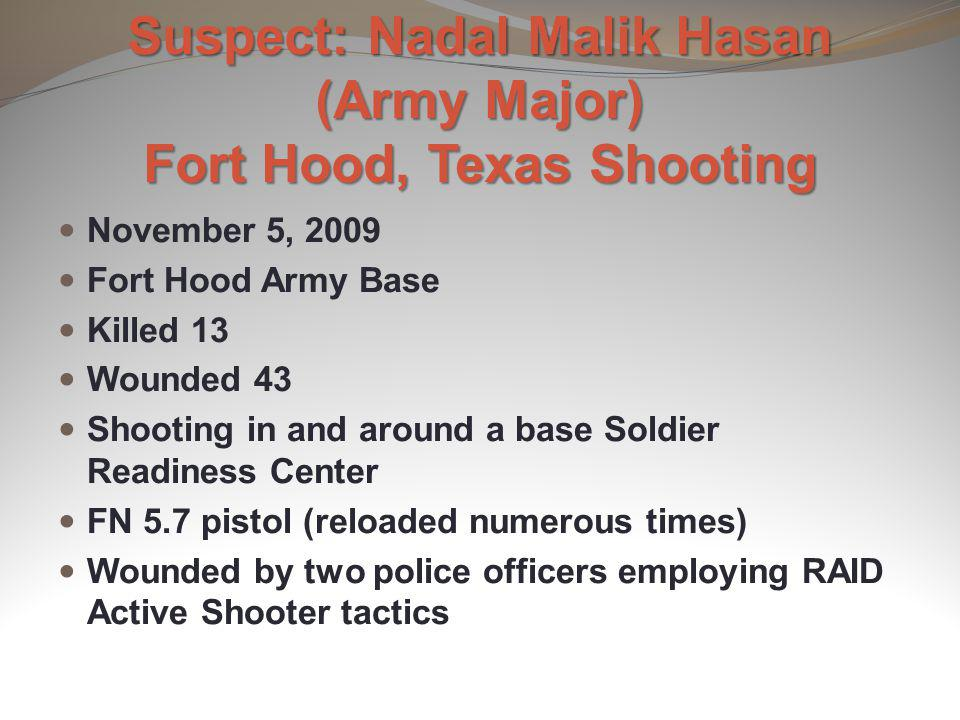 Suspect: Nadal Malik Hasan (Army Major) Fort Hood, Texas Shooting