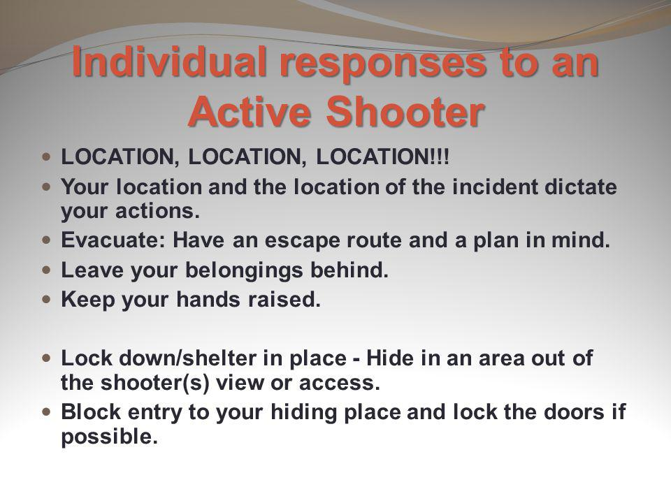 Individual responses to an Active Shooter
