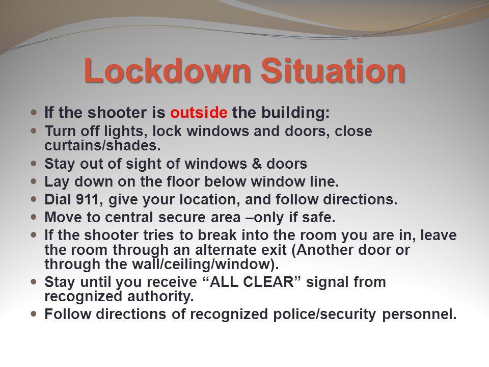 Lockdown Situation If the shooter is outside the building: