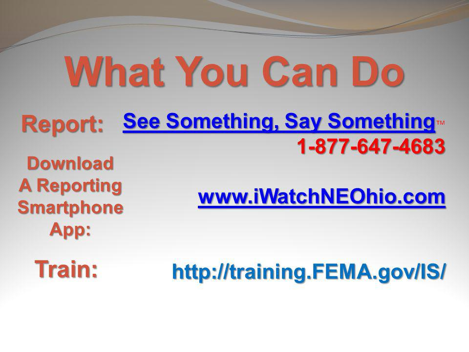 What You Can Do Report: Train: See Something, Say Something™