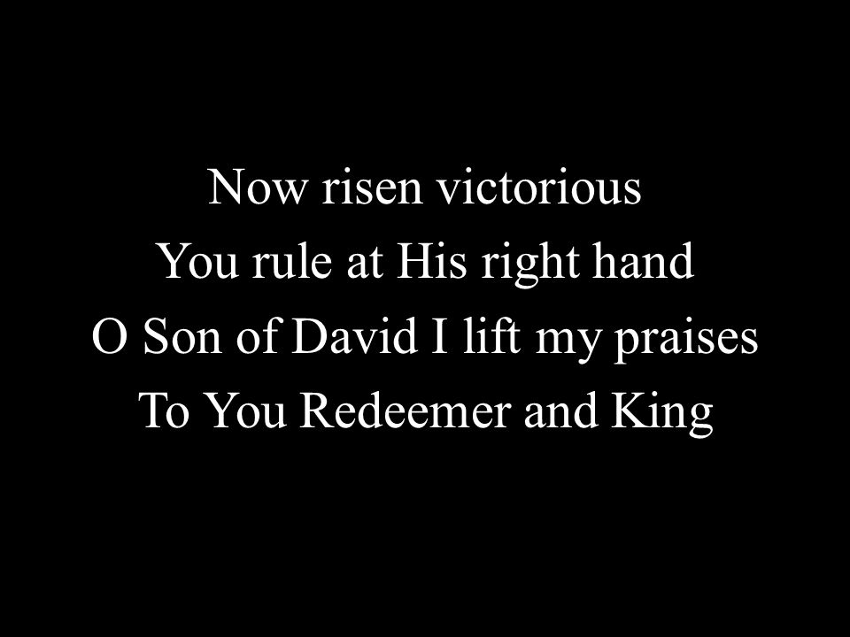 Now risen victorious You rule at His right hand O Son of David I lift my praises To You Redeemer and King