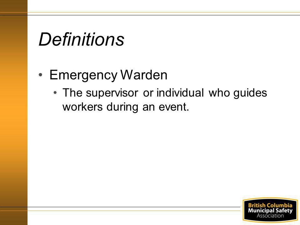 Definitions Emergency Warden