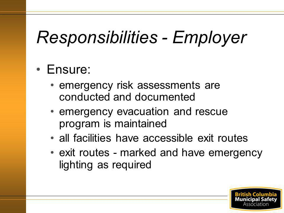 Responsibilities - Employer