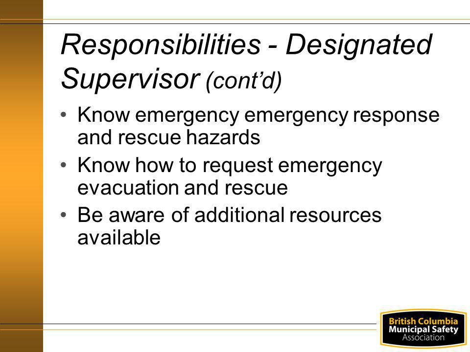 Responsibilities - Designated Supervisor (cont'd)