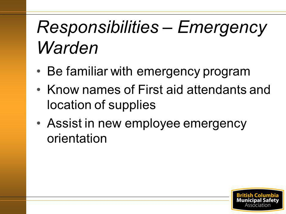 Responsibilities – Emergency Warden
