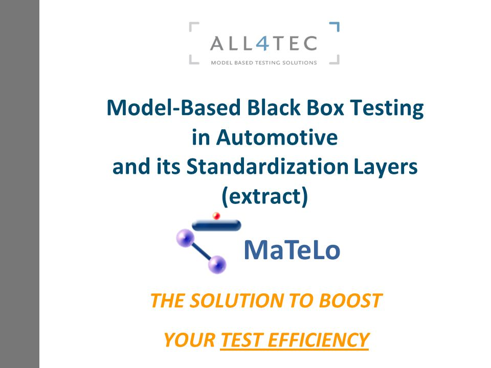 THE SOLUTION TO BOOST YOUR TEST EFFICIENCY