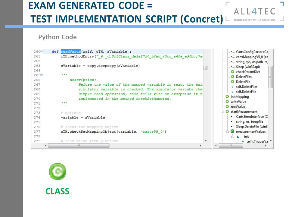 EXAM GENERATED CODE = TEST IMPLEMENTATION SCRIPT (Concret)