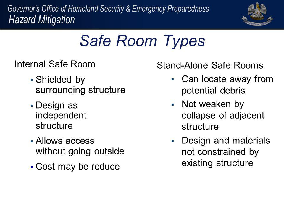 Safe Room Types Internal Safe Room Shielded by surrounding structure