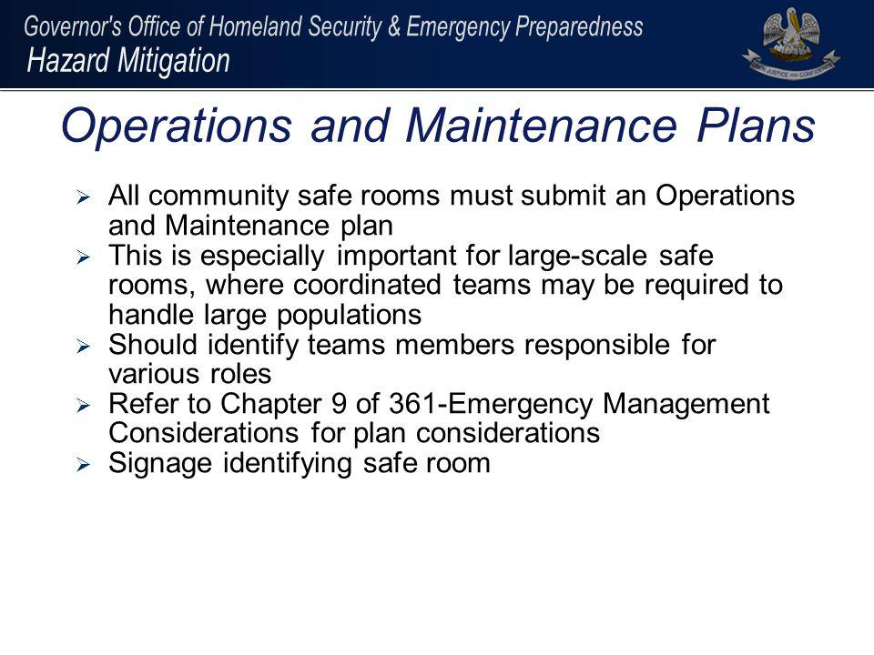 Operations and Maintenance Plans