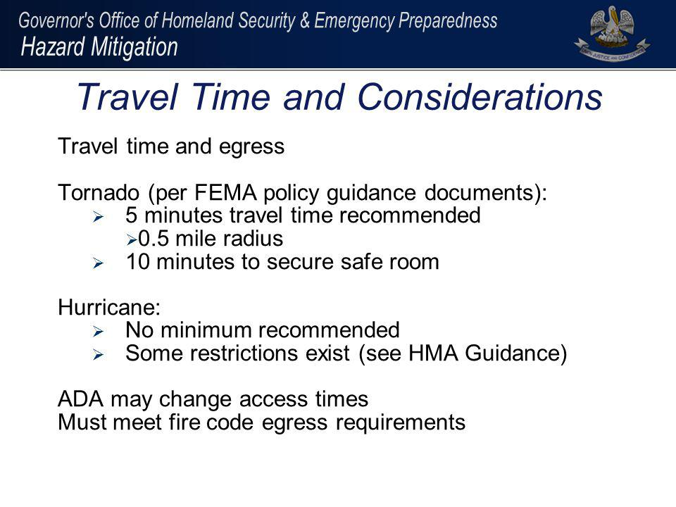 Travel Time and Considerations