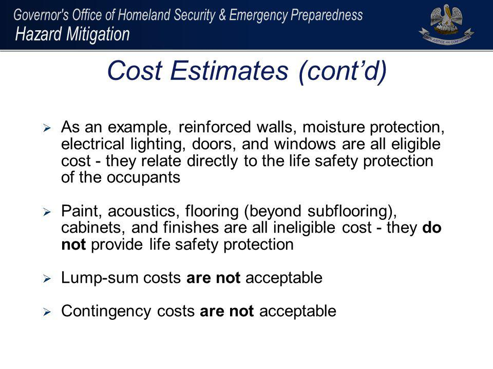 Cost Estimates (cont'd)